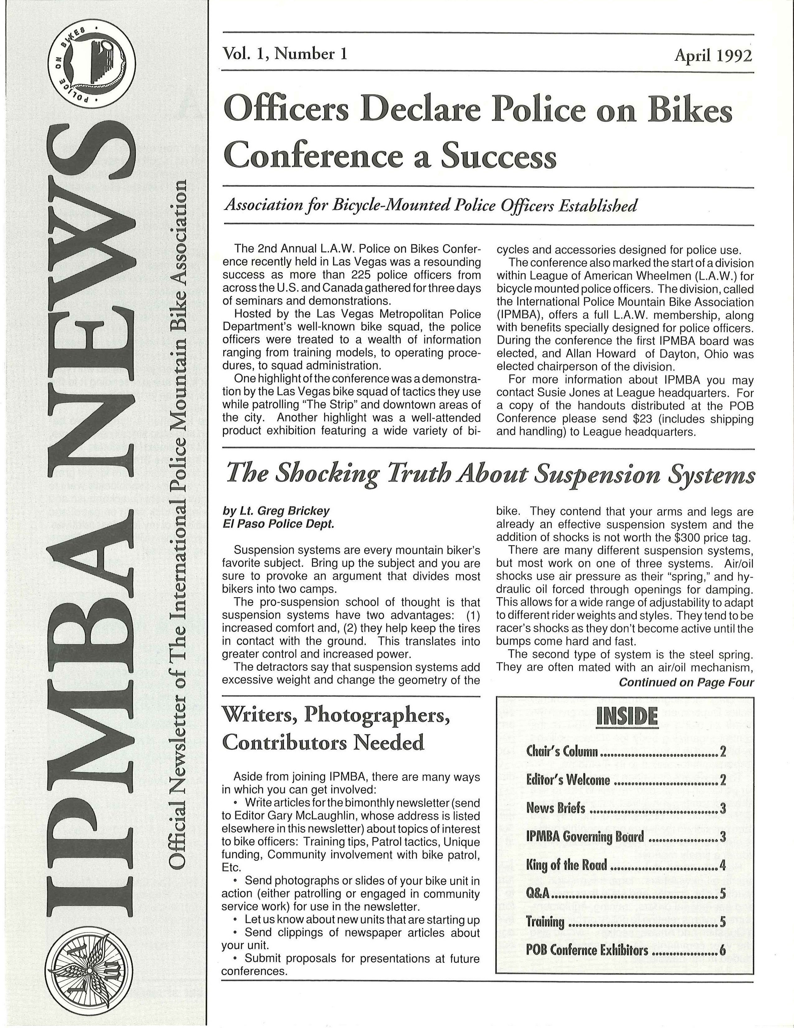 IPMBA News Vol. 1 No. 1 April 1992