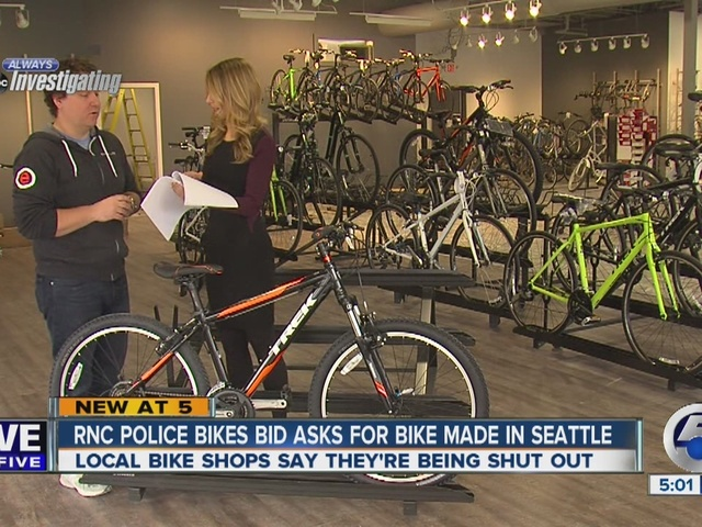Invitation to bid on RNC police bikes requests specific bike model made in Seattle