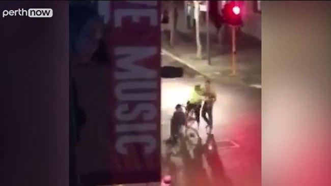 Cops on Bikes Break Up Perth Street Brawl