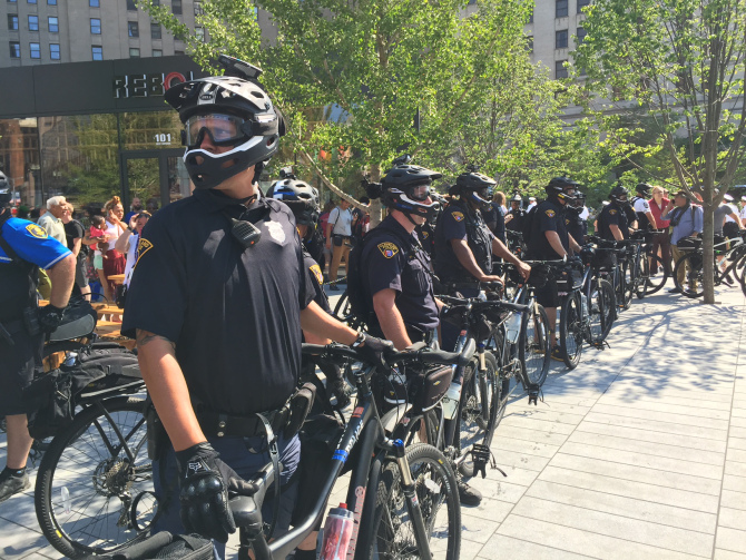 Steinberg: Cops on bikes wall off risk of chaos at GOP convention