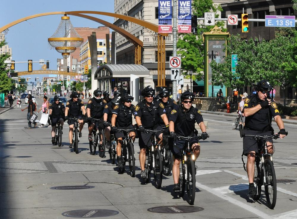 Cleveland Police Bicycle Unit Getting a Workout at the RNC