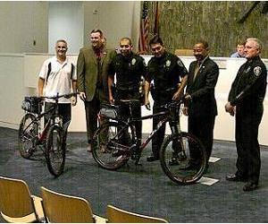 City council candidate Vitiello donates 2 bicycles to police