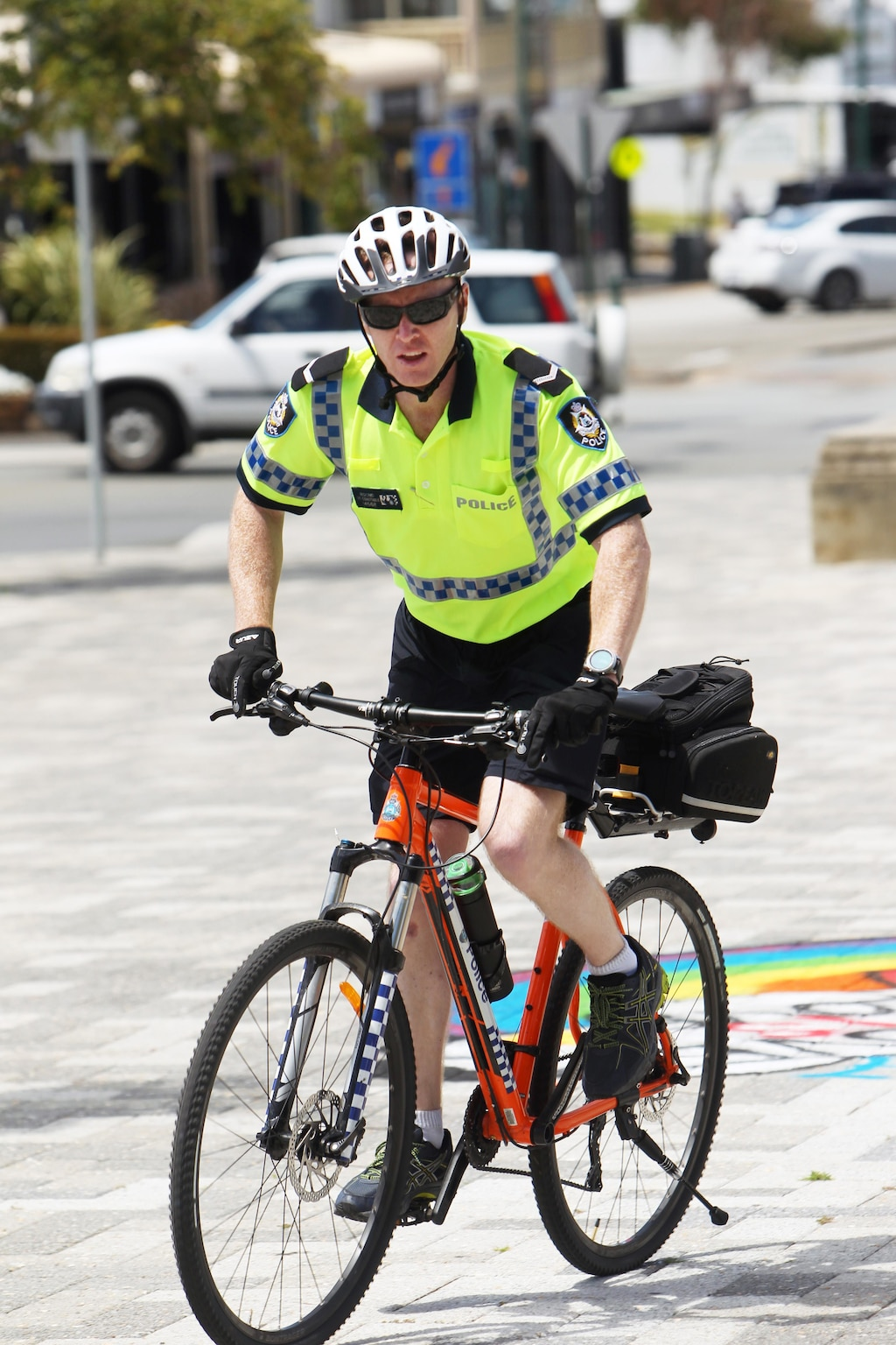 Police bike patrols a wheel city boost